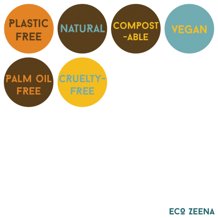 Plastic free, natural, compostable, vegan, palm oil free, cruelty-free