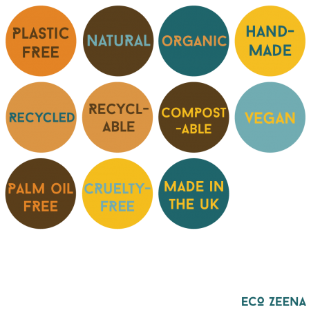 Plastic free, natural, organic, handmade, recycled, recyclable, compostablle, vegan, palm oil free, cruelty-free, made in the UK