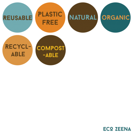 Reuseable, plastic free, natural, organic, recyclable, compostable